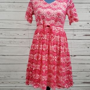 Pink Floral Lace Overlay Maternity Dress
